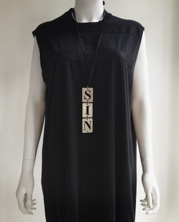 "Ann Demeulemeester ""SIN"" metal stencil necklace - S/S 2003"