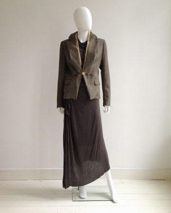 vintage Maison Martin Margiela tweed blazer with exposed lining - fall 2003 | Rick Owens brown maxi dress - fall 2008 | shop at vaniitas.com