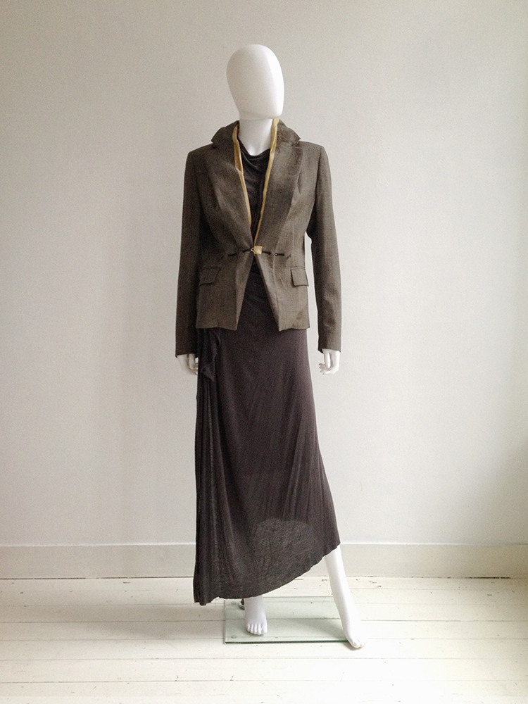 Maison martin margiela tweed blazer with exposed lining for Maison de margiela