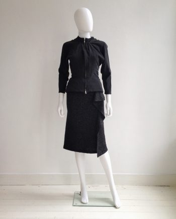 Yohji Yamamoto black silk jacket | Yohji Yamamoto grey asymmetric draped skirt | Y's Yohji Yamamoto black knit racerback top |shop at vaniitas.com