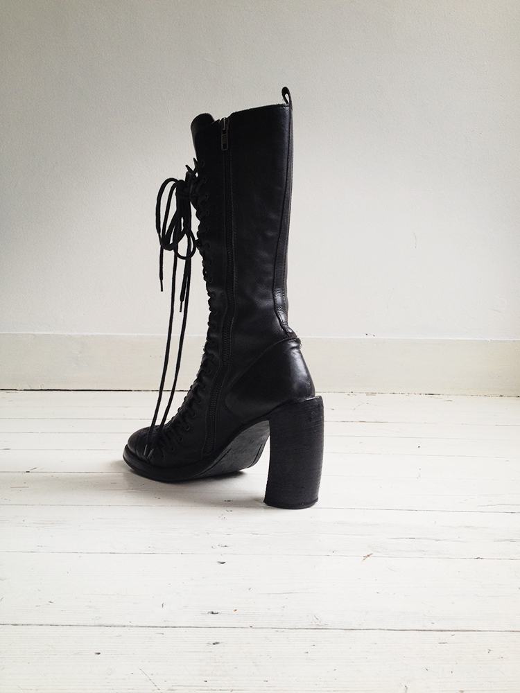 vintage Ann Demeulemeester black triple lace boots – fall 2008