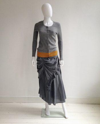 Dries Van Noten grey speckled cardigan with orange bandeau — fall 2003   Dries Van Noten grey ruffle dress — spring 1999   shop at vaniitas.com