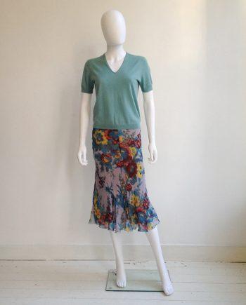 Dries Van Noten mint green jumper | Dries Van Noten floral watercolour skirt | Shop at vaniitas.com