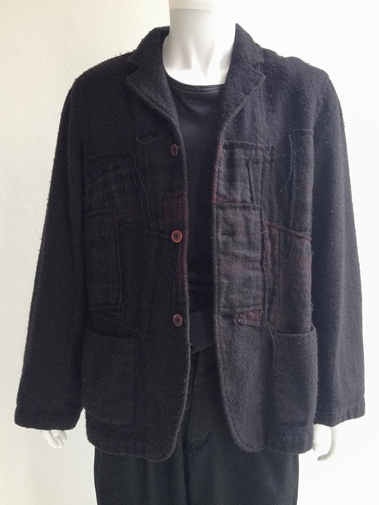 comme des gar ons shirt dark blue patchwork blazer v a n. Black Bedroom Furniture Sets. Home Design Ideas