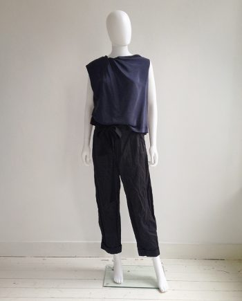 Lanvin black crinkled trousers with bowtie