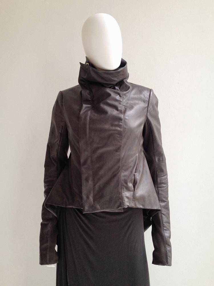 Rick Owens brown leather naska jacket