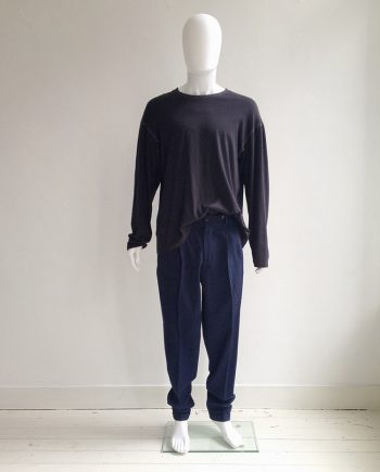 archive Yohji Yamamoto pour Homme blue pleated trousers — 80s