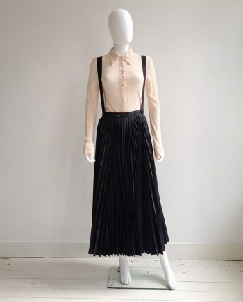 archive Ann Demeulemeester black pleated skirt with braces — 1987