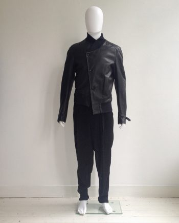 Ann Demeulemeester black leather asymmetric bomberjacket — spring 2007