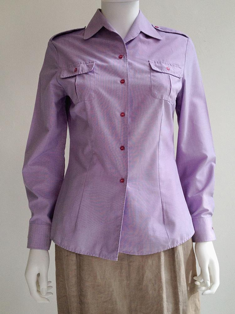 Maison Martin Margiela artisanal purple military shirt — fall 1995