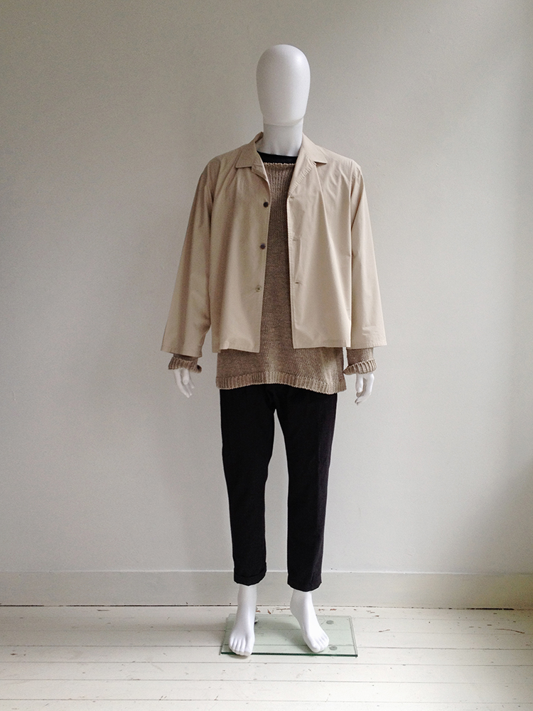 yohji yamamoto pour homme beige summer jacket 80s v a. Black Bedroom Furniture Sets. Home Design Ideas