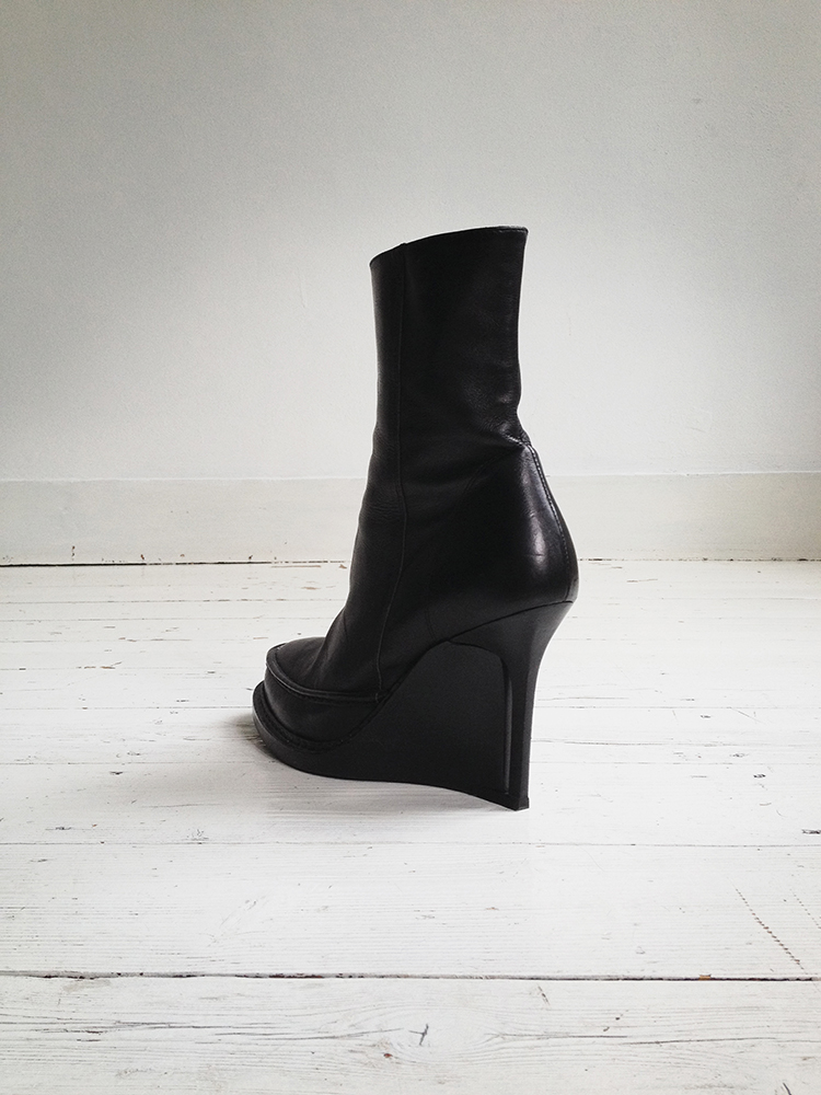 Ann Demeulemeester black slit wedge boots (39.5) — fall 2010