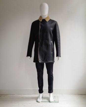 Hugo Boss black leather shearling coat