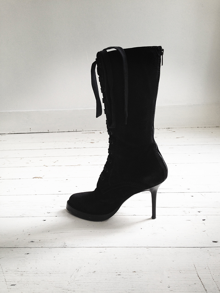 Haider Ackermann black lace up boots runway — fall 2009