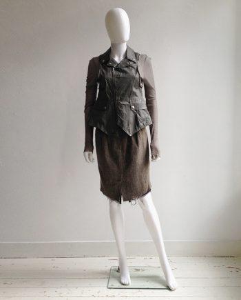 Haider Ackermann brown tweed skirt