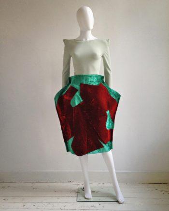 Comme des Garçons red and green 2D paperdoll skirt — fall 2012