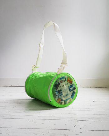 Walter Van Beirendonck W&LT neon green hologram bag
