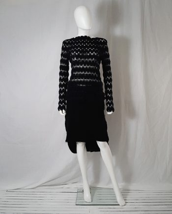 Dries Van Noten black curved knit jumper