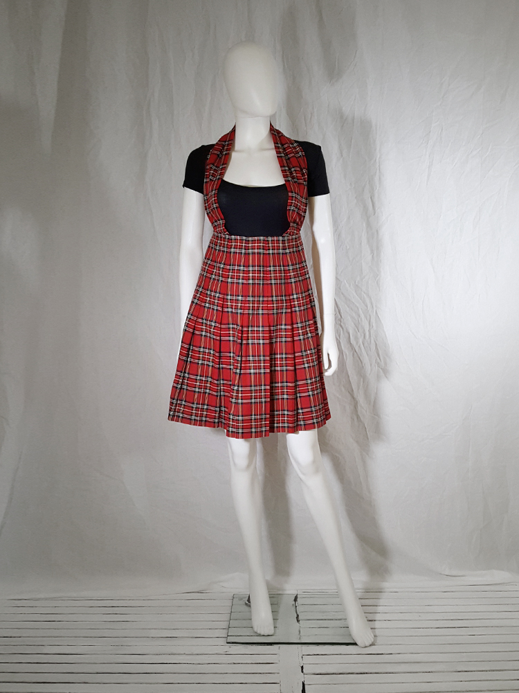 Comme des Garcons tricot blue jacket with tartan dungaree skirt AD 1990