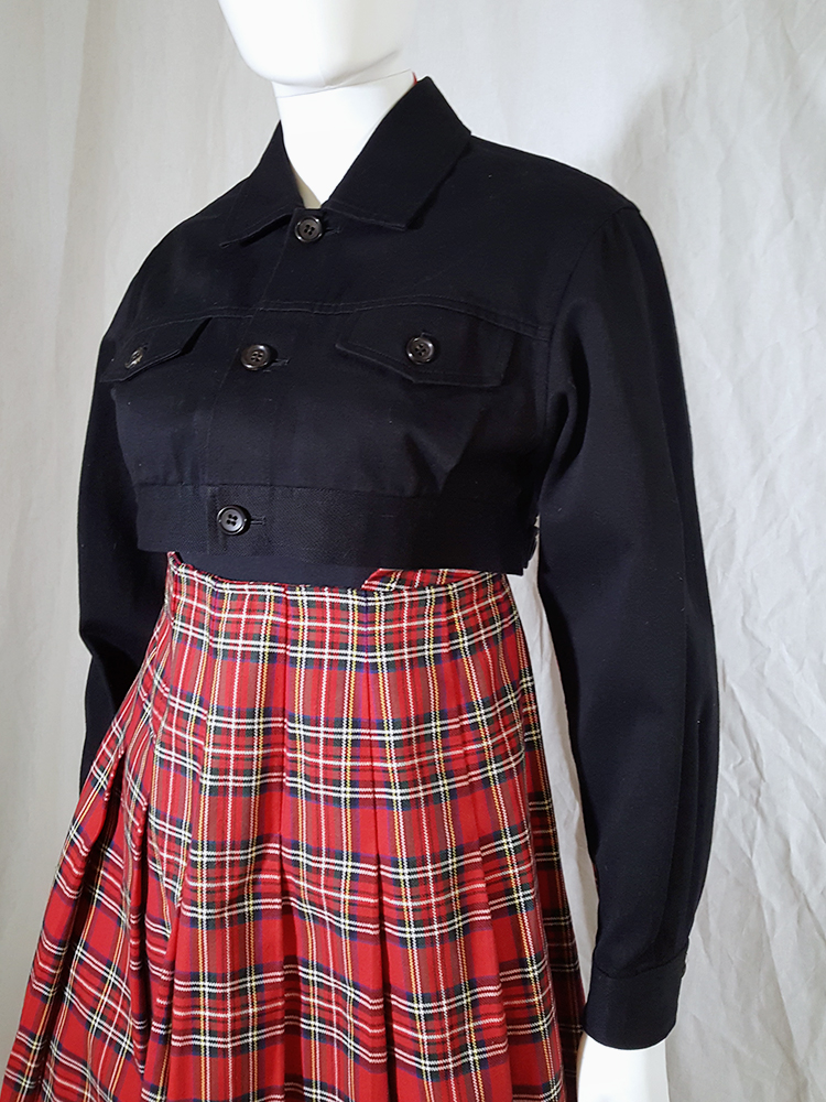 vintage Comme des Garcons tricot blue jacket with tartan dungaree skirt AD 1990