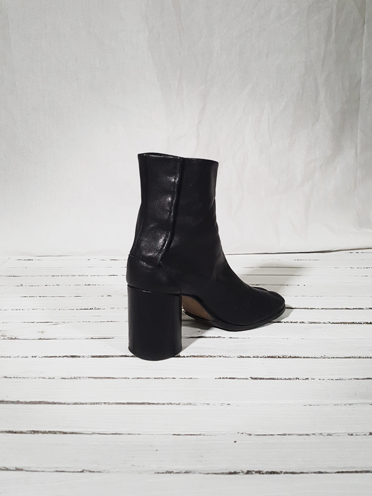 e2d83f14963 archive Maison Martin Margiela black leather tabi boots with block  heel 151657