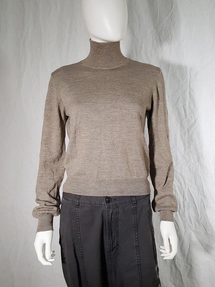 vintage Maison Martin Margiela beige permanently creased turtleneck jumper_152427