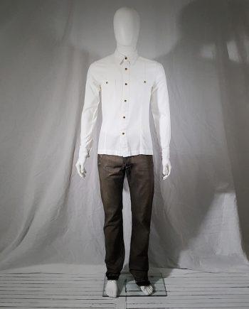 Dries Van Noten white shirt with golden brass buttons