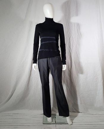 Helmut Lang black turtleneck jumper with spiralling stripe — 2002