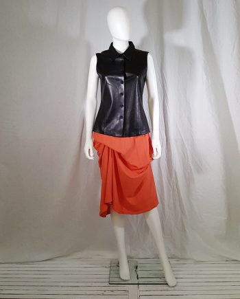 Jil Sander black leather look sleeveless shirt 144422