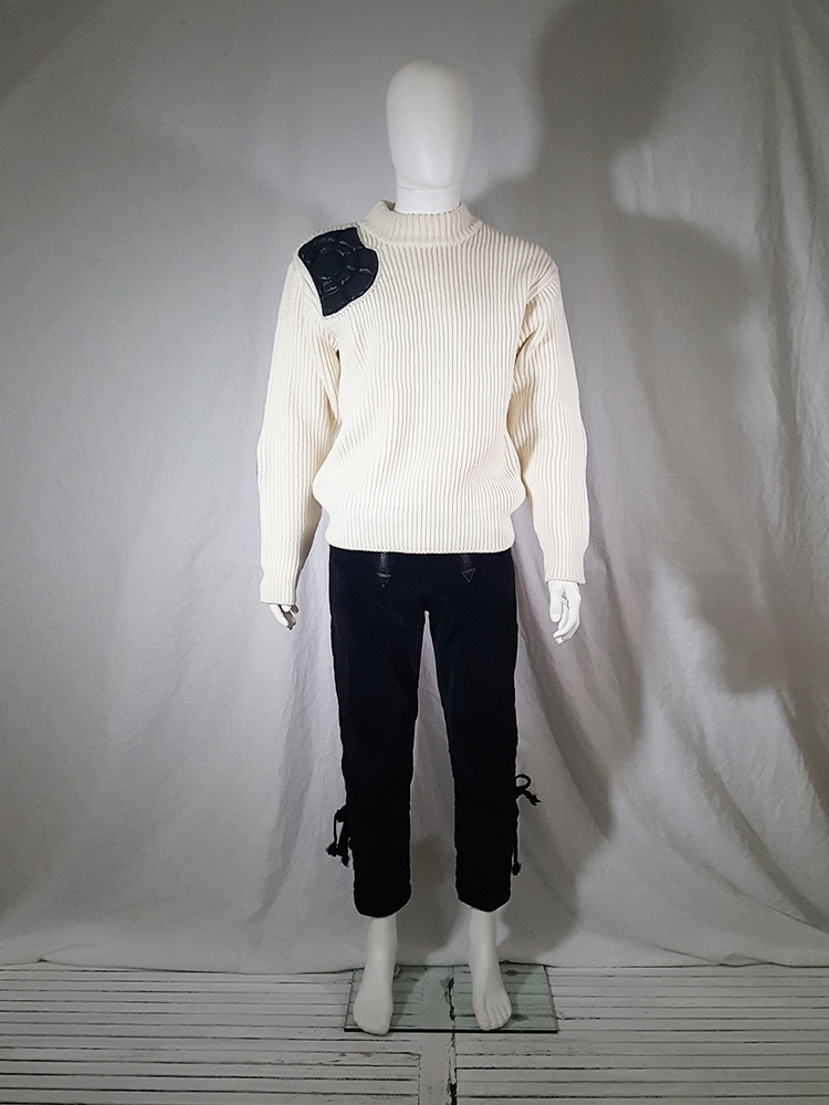 vintage 80s Issey Miyake white jumper with black shoulder and elbow panels140251