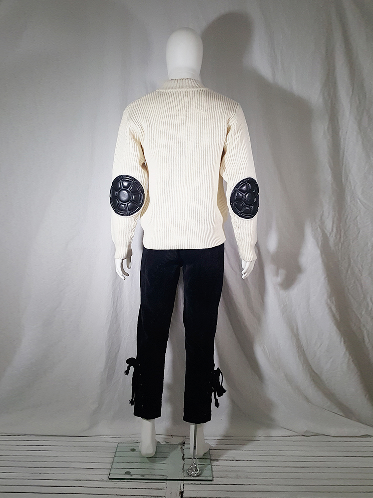 vintage 80s Issey Miyake white jumper with black shoulder and elbow panels140514