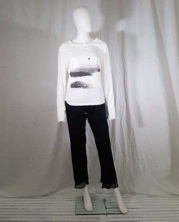 vintage Ann Demeulemeester white longsleeve top with photo print fall 2003 143359