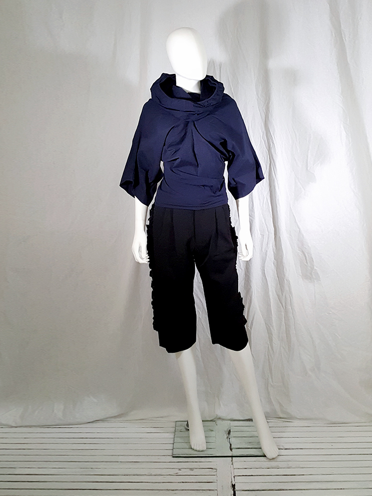 vintage Comme des Garcons blue twisted top with cowl neck fall 1995 135324