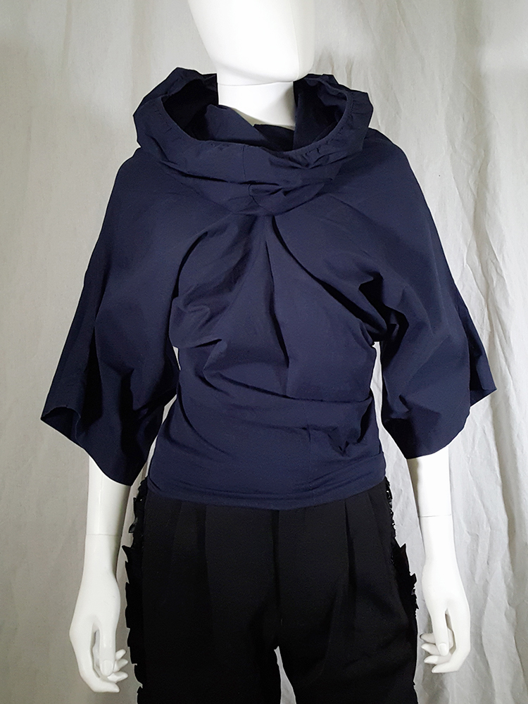 vintage Comme des Garcons blue twisted top with cowl neck fall 1995 135336