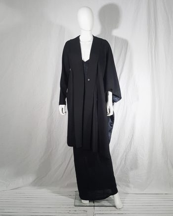 Avelon black asymmetric coat with kimono sleeve