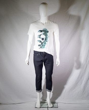 Neil Barrett dark blue denim cropped trousers with rolled hem
