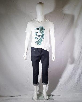 Neil Barrett dark blue denim cropped trousers with rolled hem