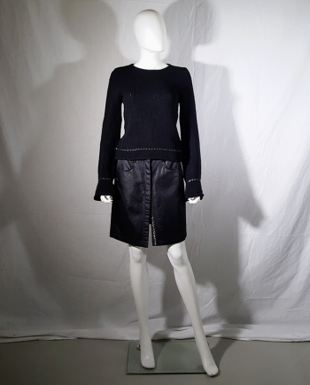 Ann Demeulemeester black jumper with floating hems — spring 1999