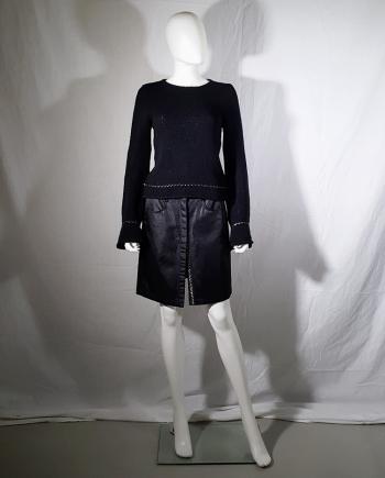 Ann Demeulemeester black jumper with floating hems — spring 1999