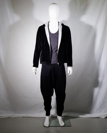 Y's Yohji Yamamoto black velvet hooded sweatshirt with contrasting lining