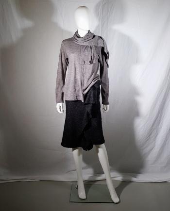 Y's Yohji Yamamoto grey cardigan with attached scarf