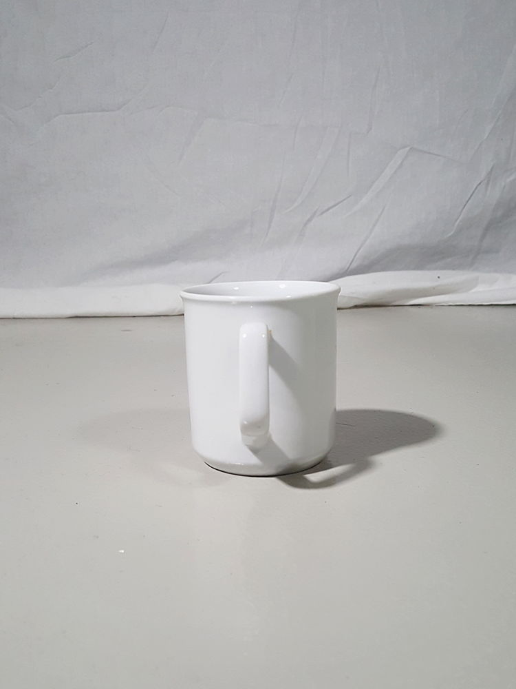 vintage Lieve Van Gorp white coffee mug with distorted logo 174109