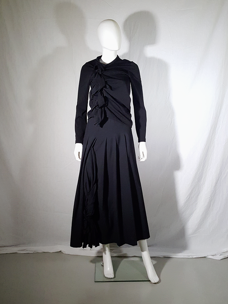 vintage Comme des Garcons black gathered top with ruffle detail fall 2011 191111(0)