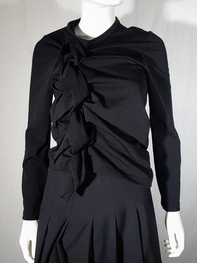 vintage Comme des Garcons black gathered top with ruffle detail fall 2011 191157