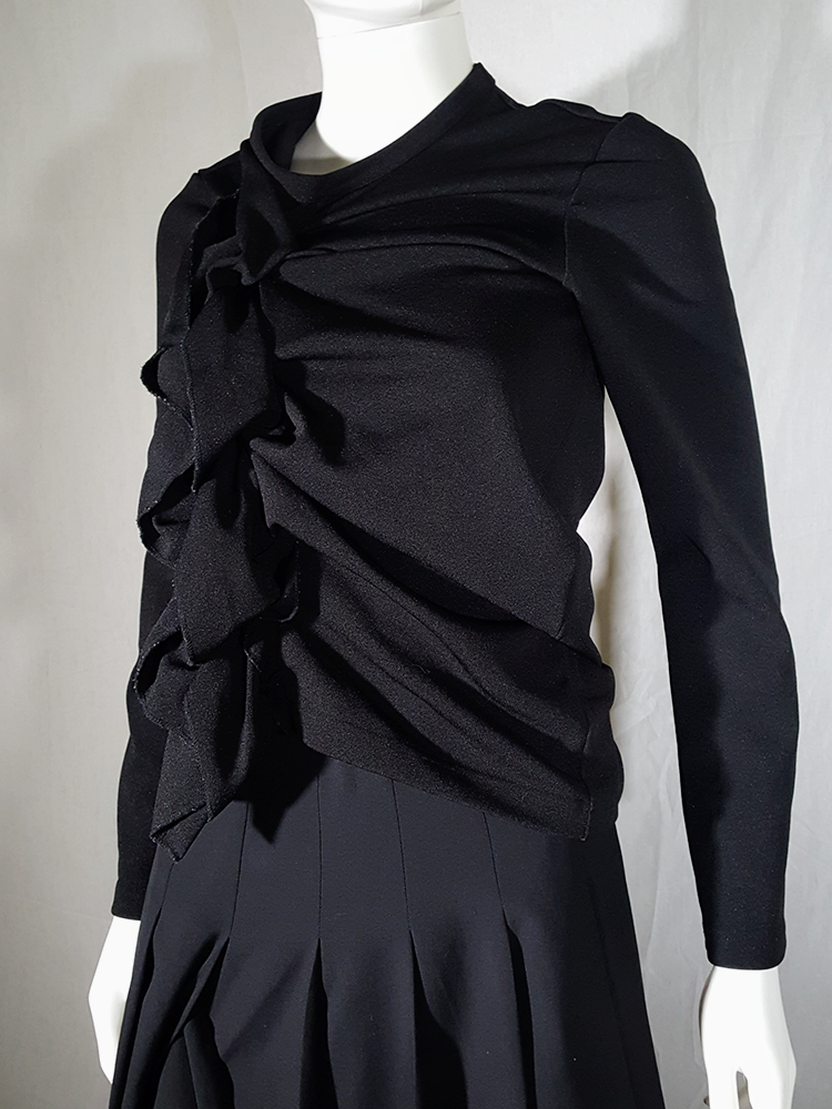vintage Comme des Garcons black gathered top with ruffle detail fall 2011 191234