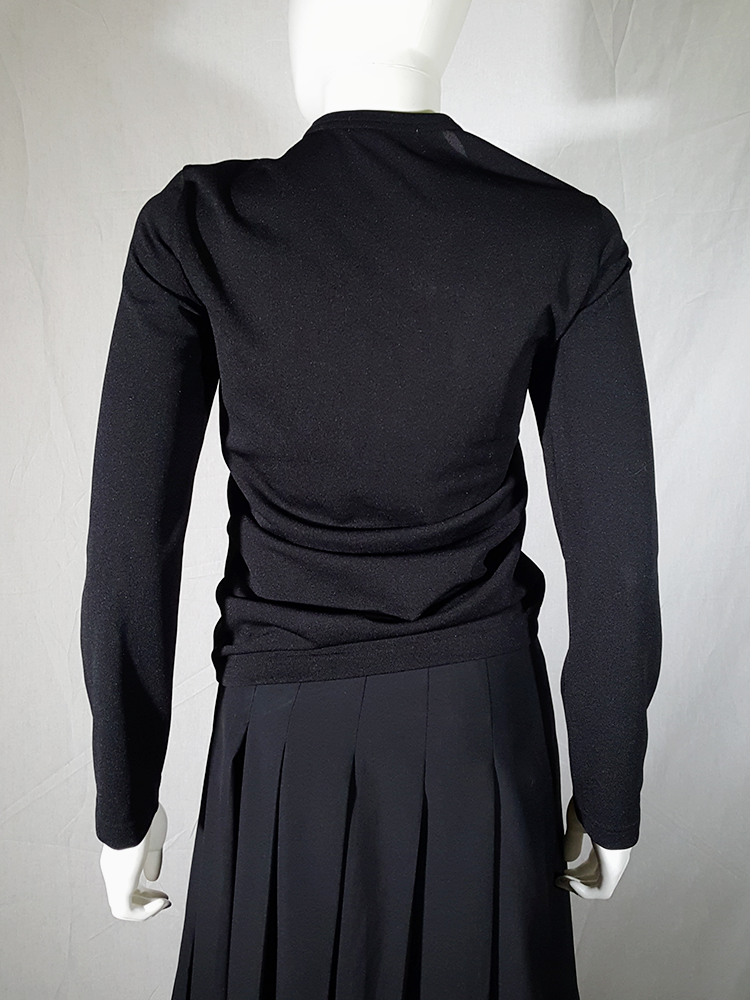 vintage Comme des Garcons black gathered top with ruffle detail fall 2011 191341