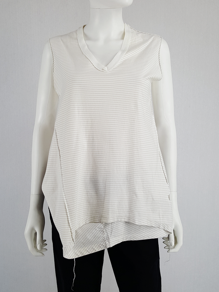 Maison Martin Margiela white top hanging on the front of the body — spring 2003