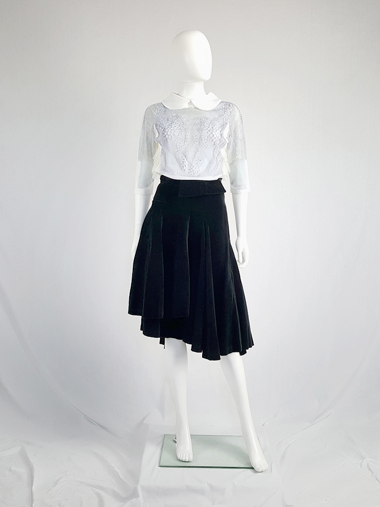 3576d20007b4 vintage Comme des Garçons black velvet asymmetric skirt fall 1988 10381