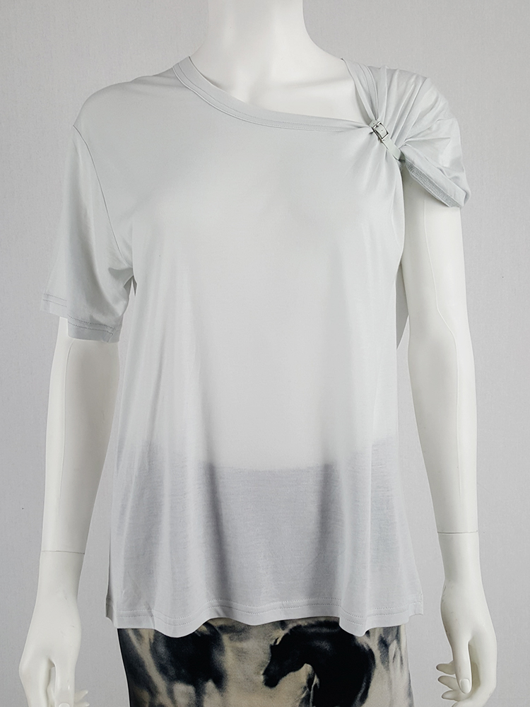 vintage Maison Martin Margiela grey tshirt with gathered sleeve spring 2008 105403