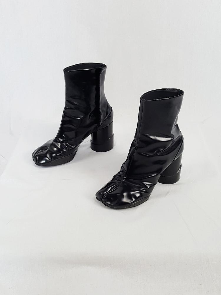 eb245def9ee vintage Maison Martin Margiela black patent techno tabi boots fall 2014  134641